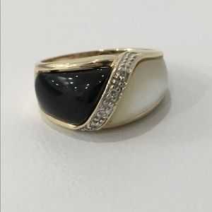 Jewelry - Gold Onyx, Mother of Pearl & Diamond Accent Ring